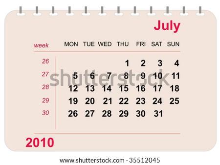 vector july calendar