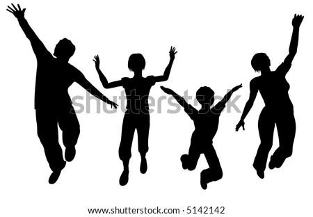 vector jump family wide angle - stock vector