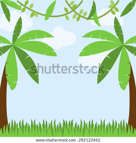 Vector Jungle Background with Palm Trees, Grass, Sky, Clouds and Vines