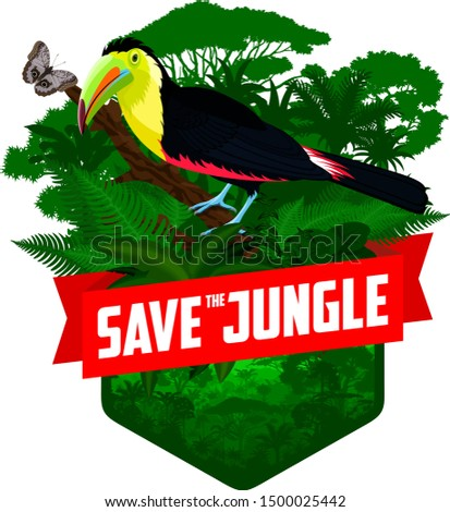 vector jungle rainforest emblem with rainbow-billed toucan