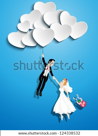 Vector - Just married couple flying with a heart shaped balloon