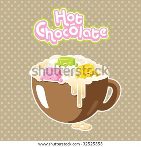 Vector kawaii marshmallows in a hot chocolate