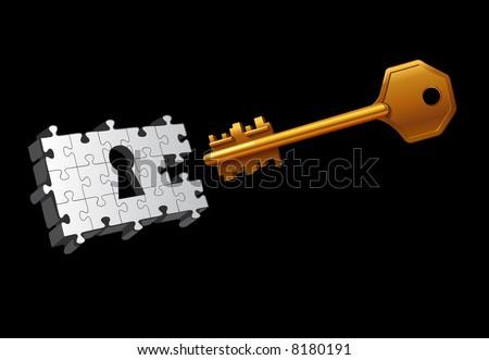 Vector key moving to unlock the door - stock vector