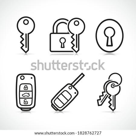 Vector keys icons sign set Photo stock ©