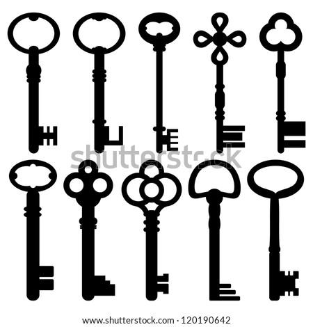 vector keys silhouette / Antique Keys