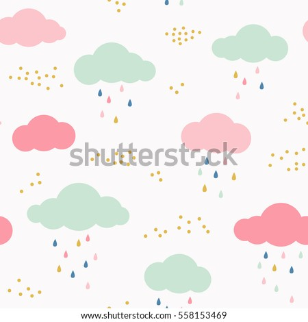 vector kids pattern with clouds