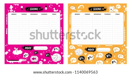 Vector kids schedule set with cartoon animals and cute elements. Cute list. Weekly planner. Light bulb, bird, aquarium, cactus, cloud, cat, speech bubbles, hearts, crocodile, duck. Vector illustration