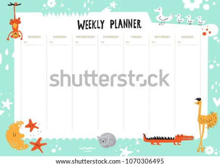 Vector kids schedule with cartoon animals and cute elements.  Weekly planner. Cute list. Crocodile, bird, moon, duck, cloud, cat, drops, hearts, strauss, flowers. Vector illustration