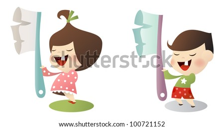 Vector kids with toothbrush