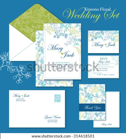 vector kimono floral wedding