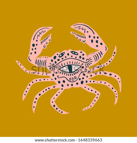 Vector king crab vintage patterned illustration, collage style art, ocean animals fauna