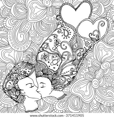 vector kissing couple in doodle
