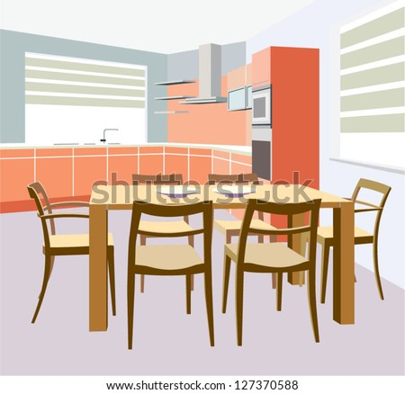 vector kitchen interior