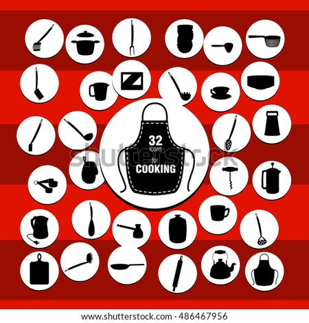 Vector kitchenware icons on the red background and white circles