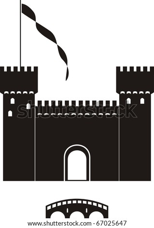 Vector  knight's castle of black silhouette - isolated  illustration on white background