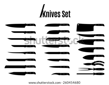vector knives set isolated on