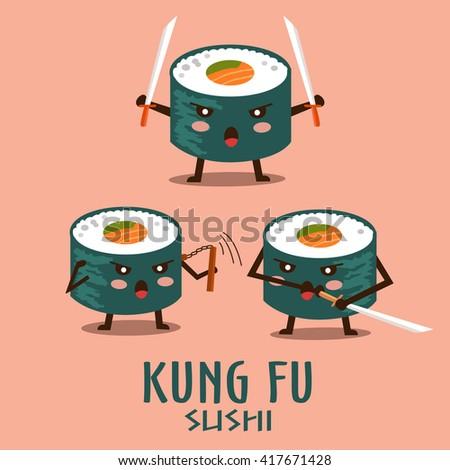 vector kung fu sushi characters