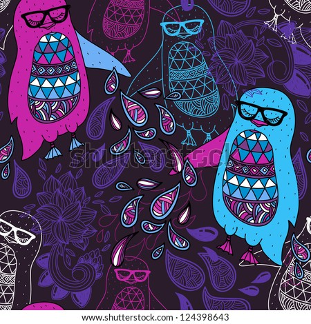 vector l seamless pattern with colorful penguins