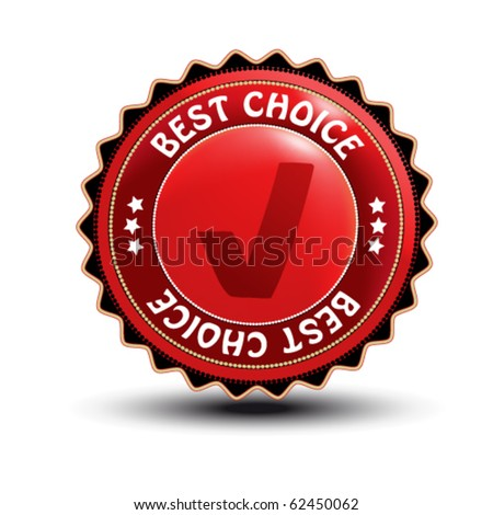 Vector label - best choice with checkmark tick