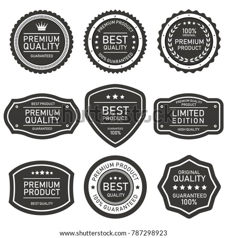 vector label quality product set grey on white background