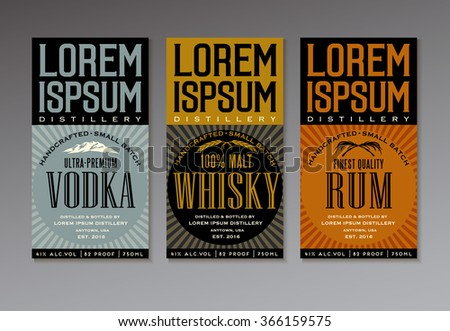 vector label set for vodka