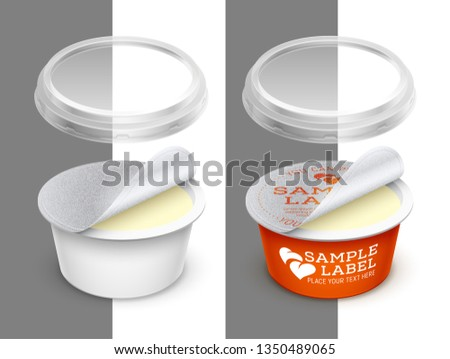 Vector labeled open round container with foil, transparent lid and butter, melted cheese or cosmetics within. Packaging template illustration.