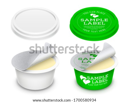 Vector labeled round plastic container with opened foil seal and lid for butter, melted cheese or cosmetics within.. Mockup isolated on white background. Packaging template illustration. Stockfoto ©