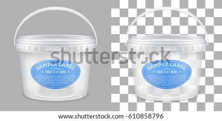 Vector labeled transparent empty plastic bucket for storage of food, honey or ice cream. Front view. Packaging mockup illustration.
