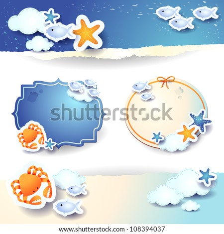 Vector labels and banners, holidays theme