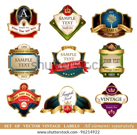 Vector labels, 9 different styles
