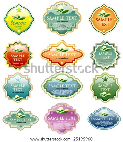 vector labels for various products like food beverages, cosmetics etc.