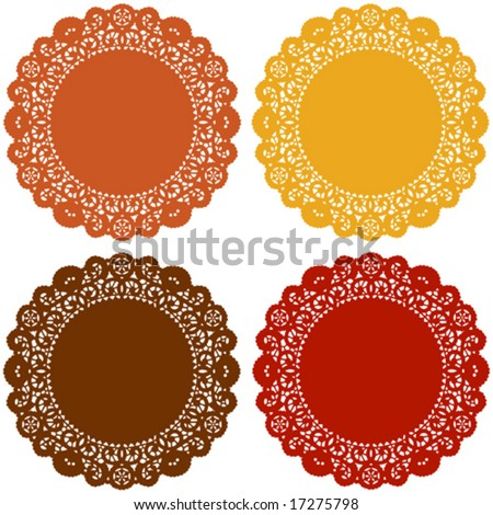 vector - Lace Doily Place Mats, Harvest Colors, for Thanksgiving, autumn celebrations, holidays, scrapbooks, setting table & cake decorating. EPS8 organized in groups for easy editing.