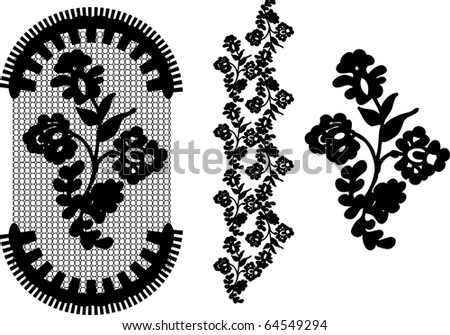 vector lace elements ( set 3 ) - stock vector