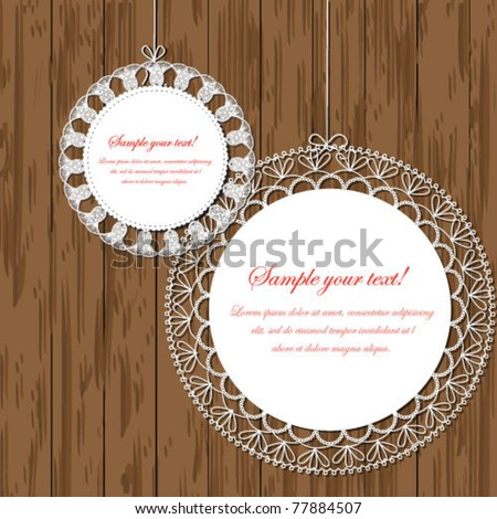 Vector lace frame on wooden background