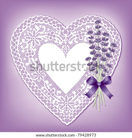 vector - Lace Heart, Antique Pastel Satin, Victorian style, Sweet Lavender flower bouquet, violet ribbon and bow. Copy space for Mother's Day, birthdays, anniversaries, showers, weddings. EPS8.