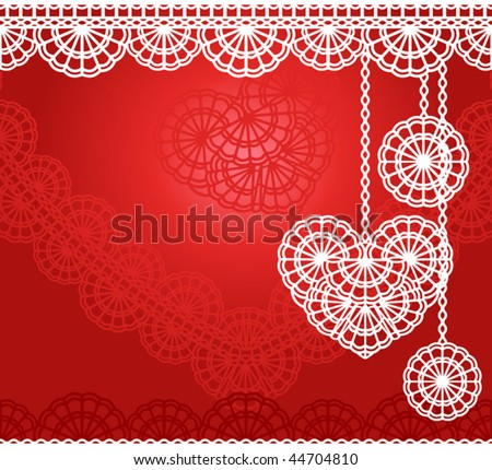 vector lace heart for wedding invitation