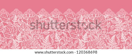 Vector lace leaves elegant horizontal seamless pattern ornament background with hand drawn line art floral elements.
