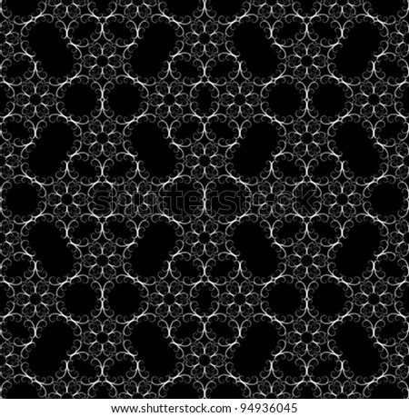 Vector lace on black, seamless pattern