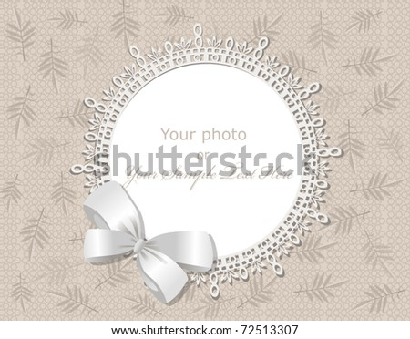 vector lace picture frame on a beige background with leaves