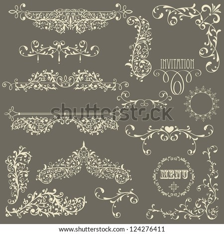 vector lacy  vintage floral  design elements on gradient background, fully editable eps 8 file
