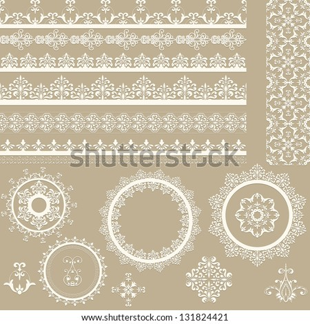 Vector lacy vintage ribbons, napkins, and design elements, lacy seamless brushes included, shadows at the separate layer, fully editable eps 8 file