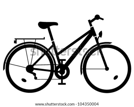 vector lady bike black