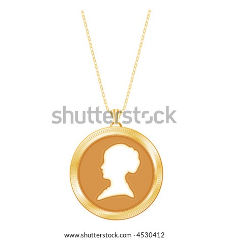 vector, Lady's Ivory Cameo in engraved antique gold locket, chain, Vintage keepsake. Copy space for picture or inscription. EPS8 compatible; in layers for easy editing.