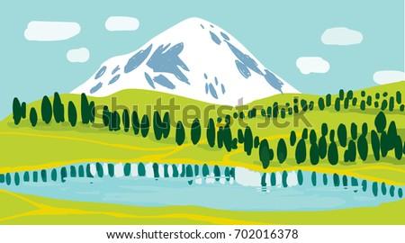 vector lake and mountain