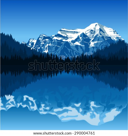 vector lake in mountains