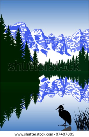 vector lake in mountains with