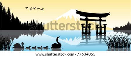 vector lake with torii gate