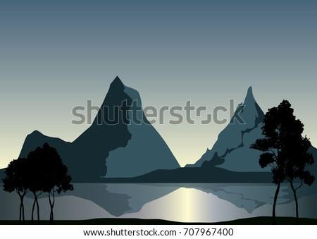 vector lakeside mountains