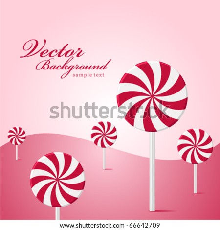 Vector land lollipop as tree background