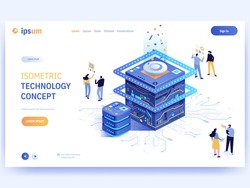 Vector landing page of Isometric Technology concept. Team of development engineers  working together on huge computer chip or microprocessor. Software and hardware development. Character illustration